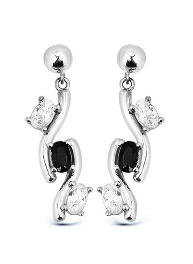 Argentum Concept Siyah Beyaz Taşlı Gümüş Küpe Gümüş